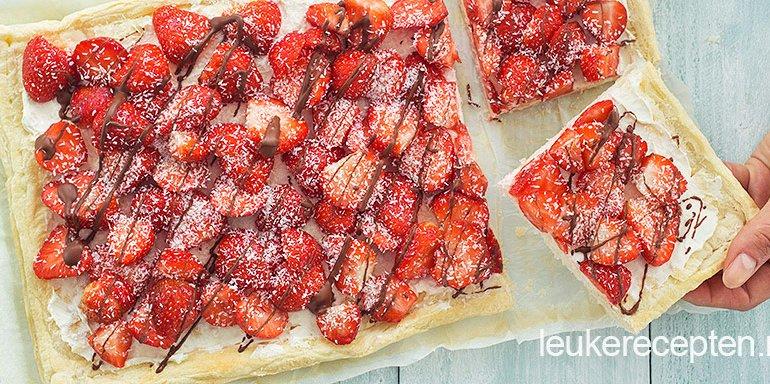 Aardbeien-plaat-taart